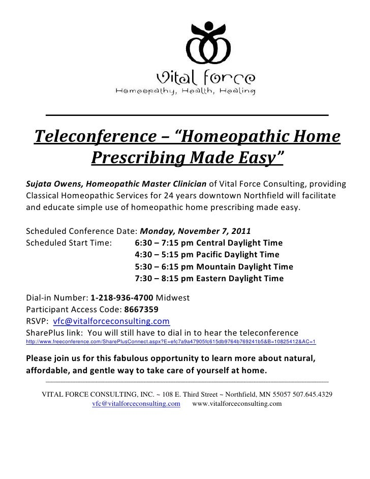 """Teleconference – """"Homeopathic Home        Prescribing Made Easy""""Sujata Owens, Homeopathic Master Clinician of Vital Force ..."""