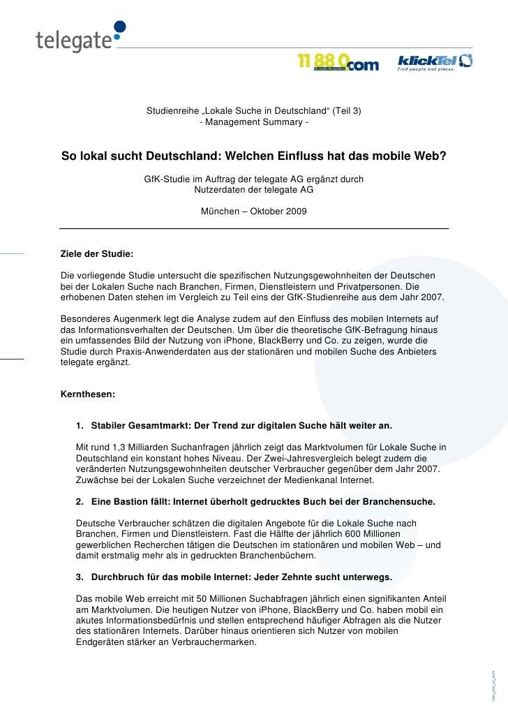 """Studienreihe """"Lokale Suche in Deutschland"""" (Teil 3)                                 - Management Summary -   So lokal such..."""