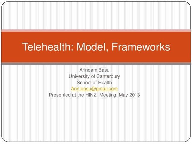 Arindam BasuUniversity of CanterburySchool of HealthArin.basu@gmail.comPresented at the HINZ Meeting, May 2013Telehealth: ...