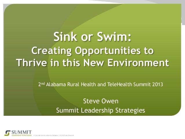 Sink or Swim: Creating Opportunities to Thrive in this New Environment 2nd Alabama Rural Health and TeleHealth Summit 2013...