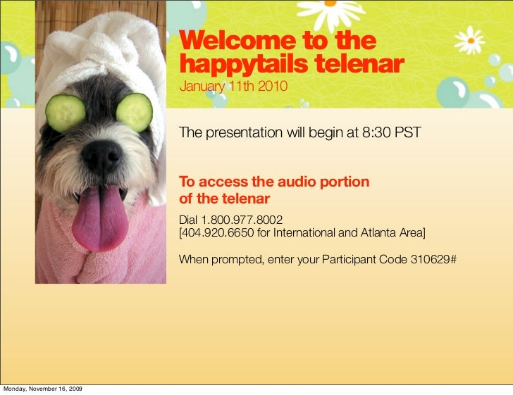 Welcome to the                            happytails telenar                            January 11th 2010                 ...