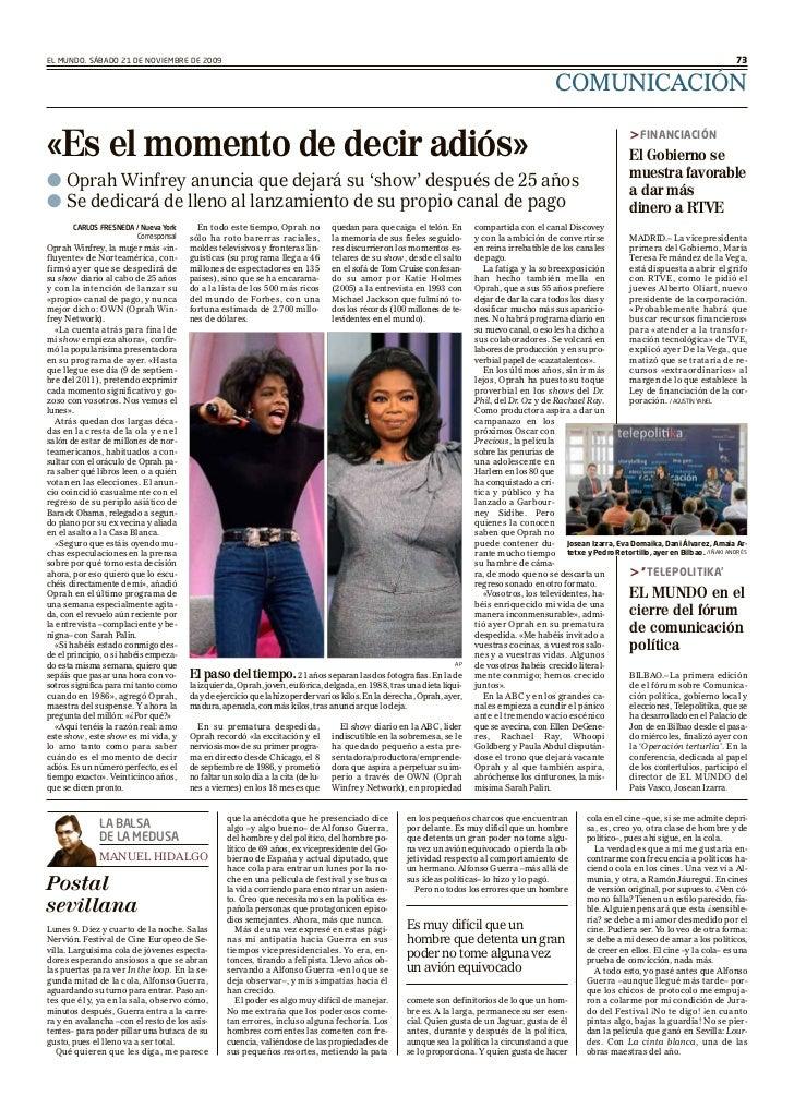 EL MUNDO. SÁBADO 21 DE NOVIEMBRE DE 2009                                                                                  ...