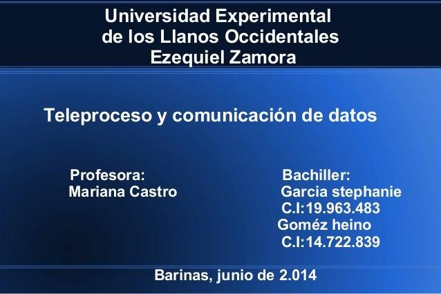 Universidad Experimental de los Llanos Occidentales Ezequiel Zamora Profesora: Bachiller: Mariana Castro Garcia stephanie ...