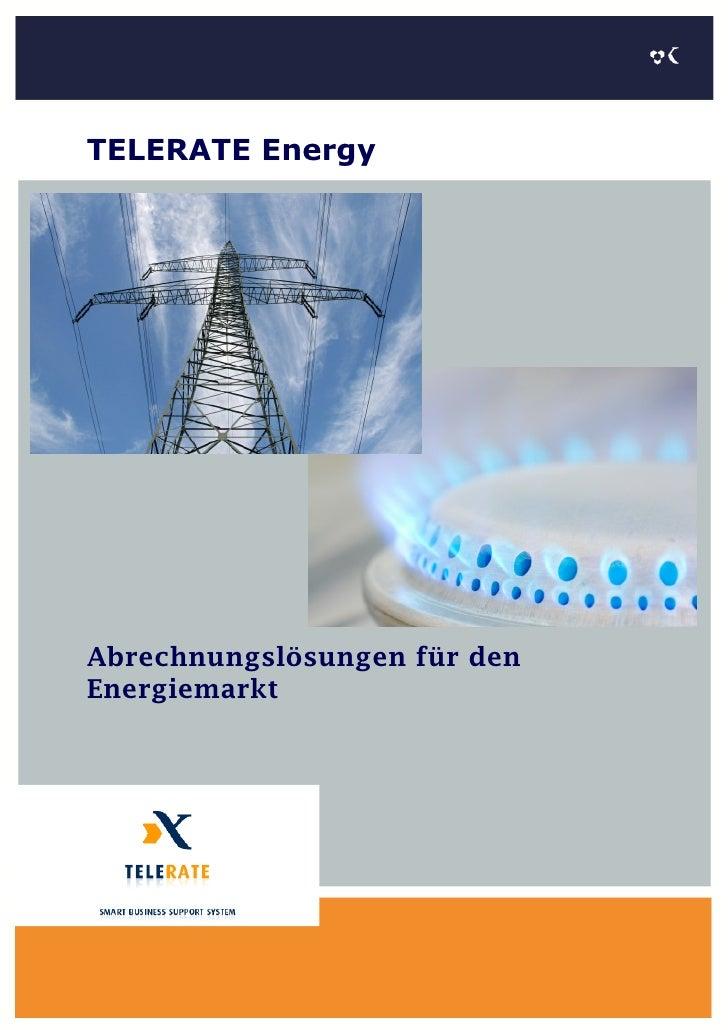 TELERATE Energy     Abrechnungslösungen für den Energiemarkt