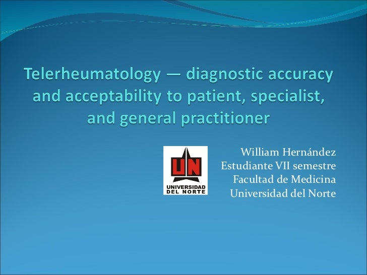 Telerheumatology — diagnostic accuracy and acceptability to patient