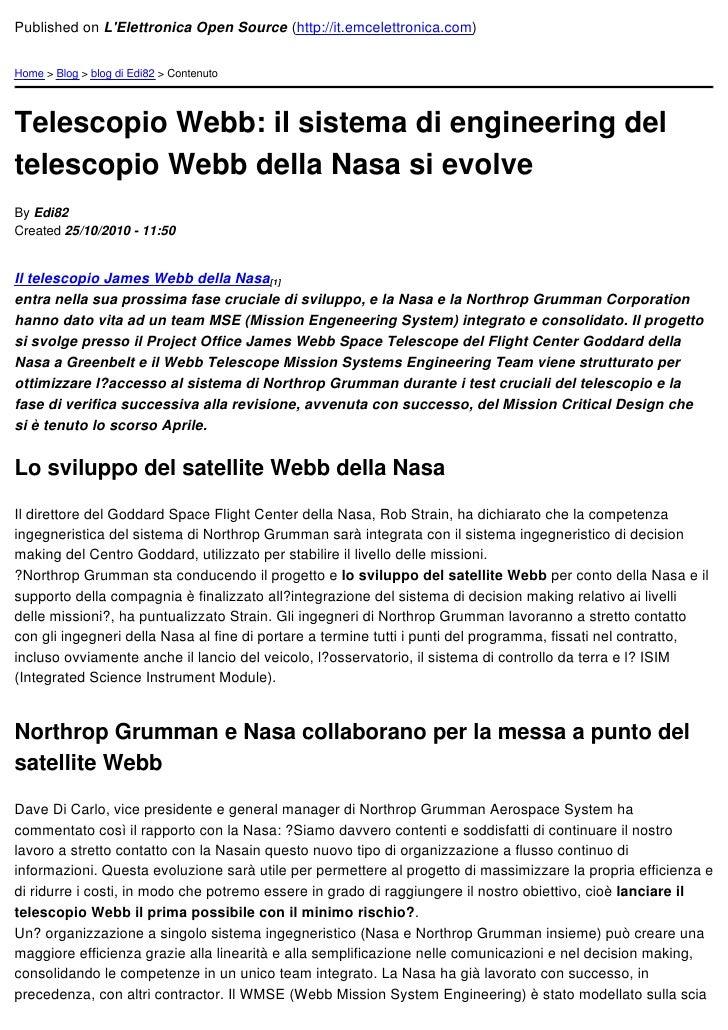 Published on LElettronica Open Source (http://it.emcelettronica.com)Home > Blog > blog di Edi82 > ContenutoTelescopio Webb...