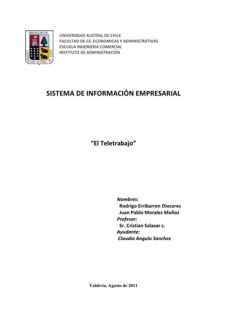UNIVERSIDAD AUSTRAL DE CHILE   FACULTAD DE CS. ECONOMICAS Y ADMINISTRATIVAS   ESCUELA INGENIERIA COMERCIAL   INSTITUTO DE ...
