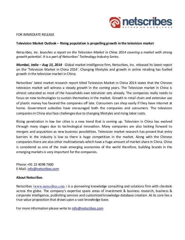 Market Research Report : Television Market in China 2014 - Press Release