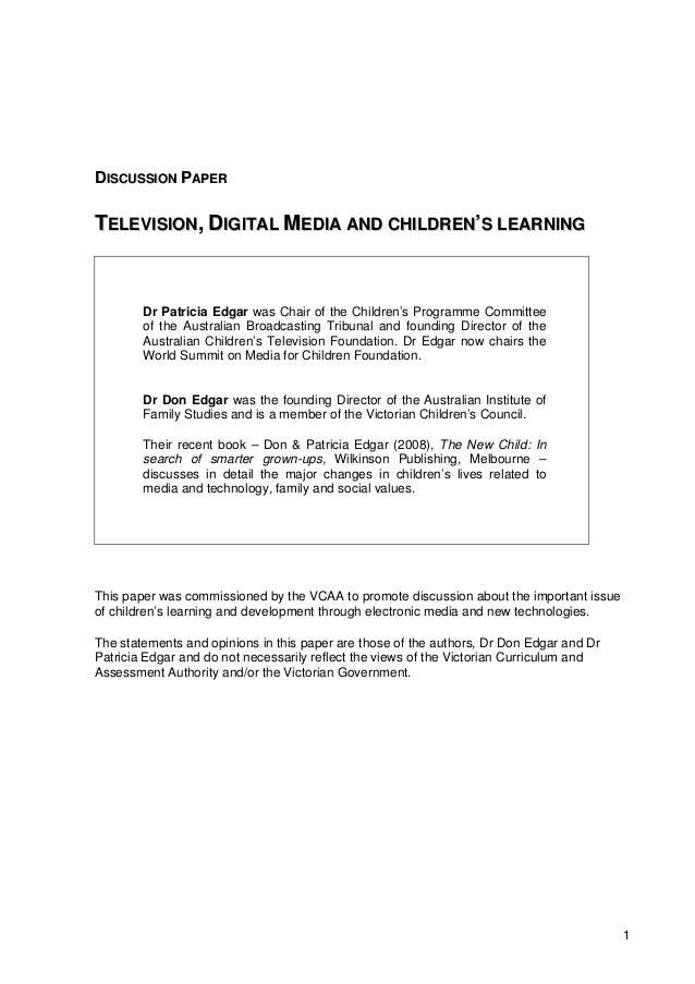 Televison, digital media, and children's learning