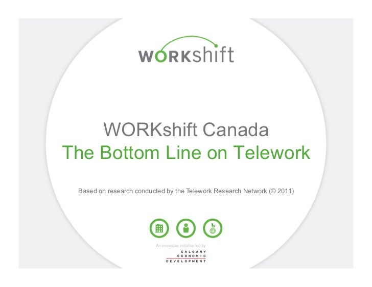 WORKshift CanadaThe Bottom Line on Telework Based on research conducted by the Telework Research Network (© 2011)