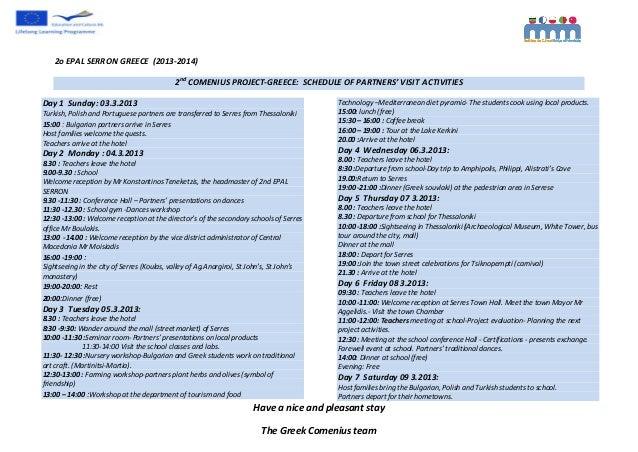 2oEPALSERRONGREECE(2013‐2014)                                            2ndCOMENIUSPROJECT‐GREECE:SCHEDULEOF...