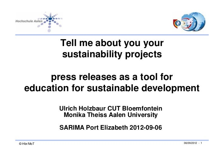 Tell me about you your            sustainability projects        press releases as a tool for   education for sustainable ...