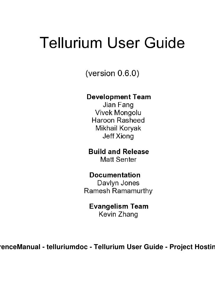 renceManual - telluriumdoc - Tellurium User Guide - Project Hostin