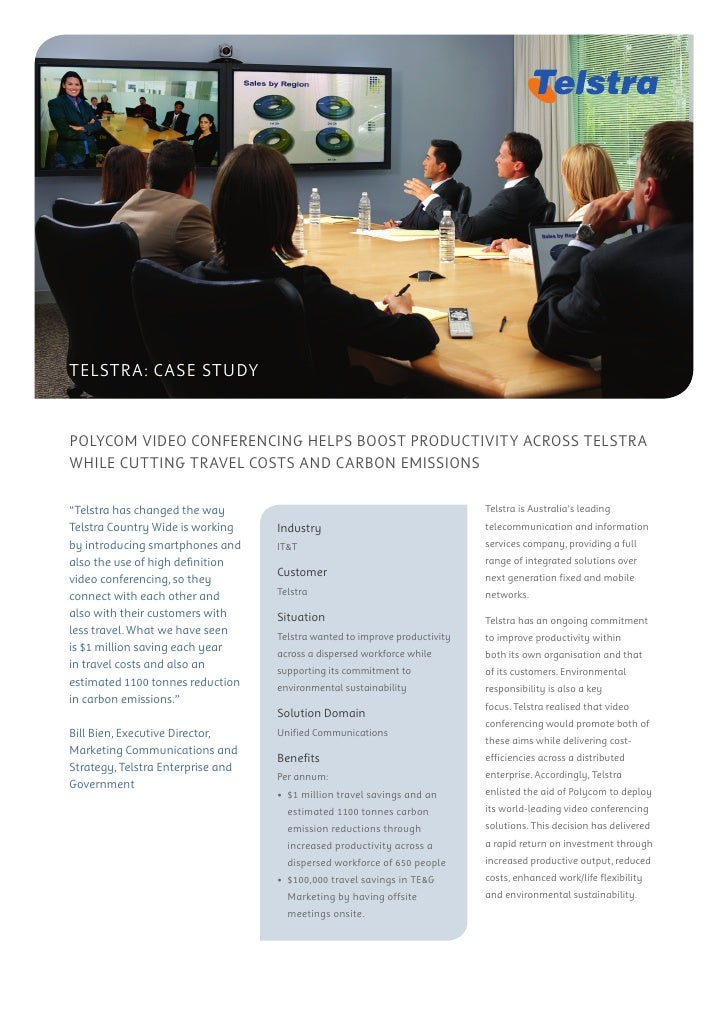 telstra: case study   Polycom video conferencing helPs boost Productivity across telstra while cutting travel costs and ca...