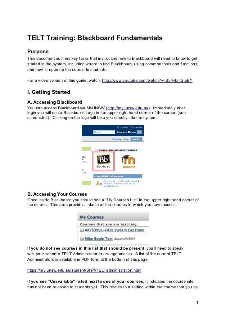 TELT Training: Blackboard FundamentalsPurposeThis document outlines key tasks that instructors new to Blackboard will need...