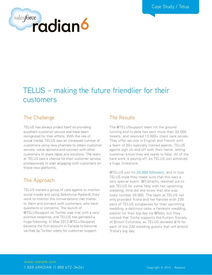 Case Study / TelusTELUS – making the future friendlier for theircustomersThe Challenge                                    ...