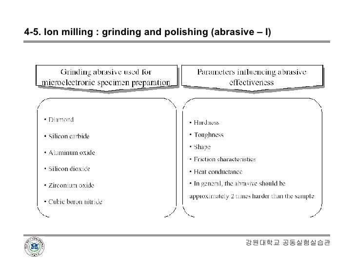 4-5. Ion milling : grinding and polishing (abrasive – I) 강원대학교 공동실험실습관
