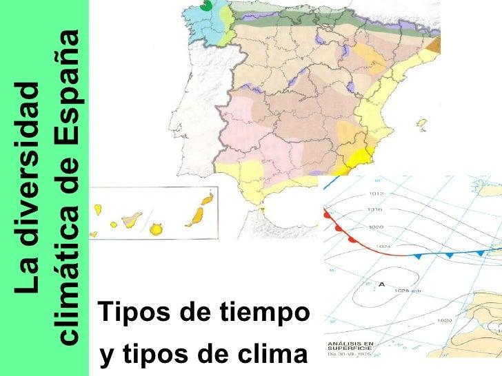 La diversidad climática de España Tipos de tiempo y tipos de clima