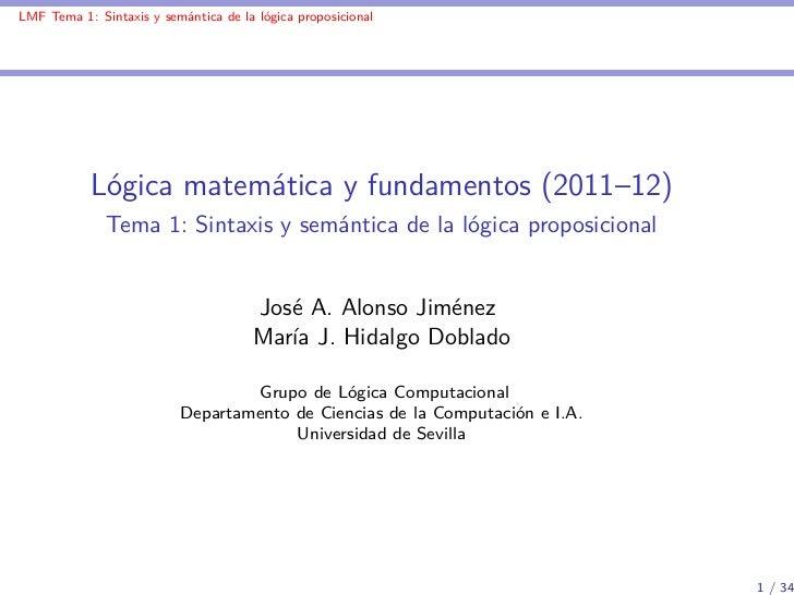 LMF-T1: Sintaxis y semántica de la lógica proposicional
