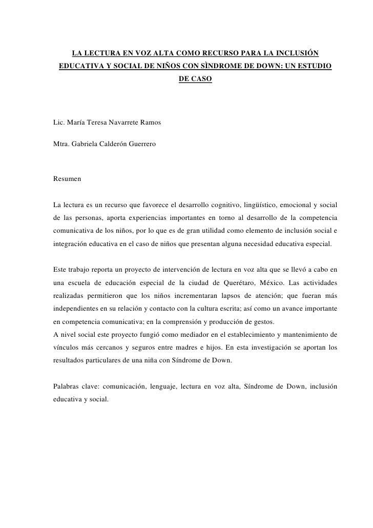 LA LECTURA EN VOZ ALTA COMO RECURSO PARA LA INCLUSIÓN EDUCATIVA Y SOCIAL DE NIÑOS CON SÌNDROME DE DOWN: UN ESTUDIO        ...