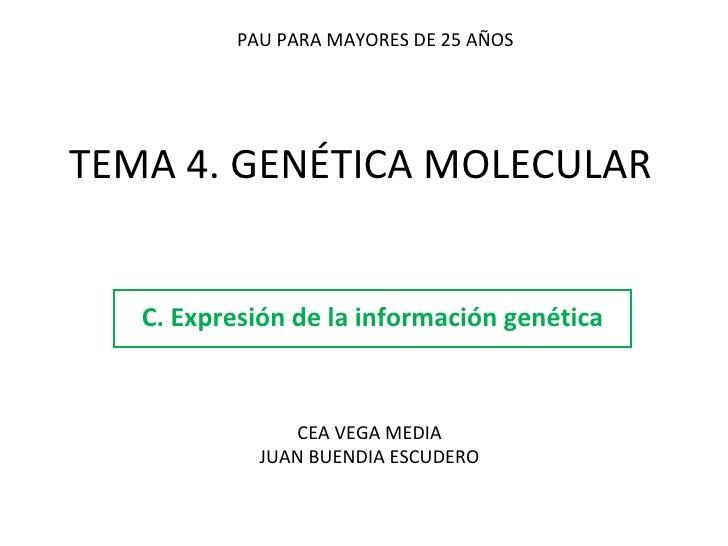 TEMA 4. GENÉTICA MOLECULAR C. Expresión de la información genética PAU PARA MAYORES DE 25 AÑOS CEA VEGA MEDIA JUAN BUENDIA...