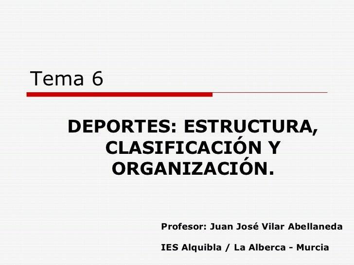 Tema 6 DEPORTES: ESTRUCTURA, CLASIFICACIÓN Y ORGANIZACIÓN. Profesor: Juan José Vilar Abellaneda IES Alquibla / La Alberca ...
