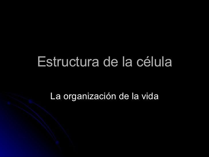 Estructura de la célula La organización de la vida