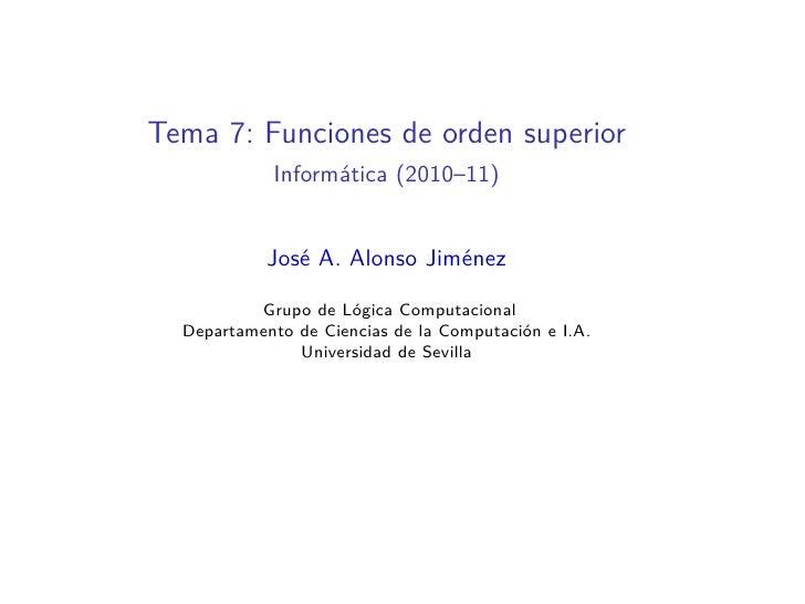 Tema 7: Funciones de orden superior en Haskell