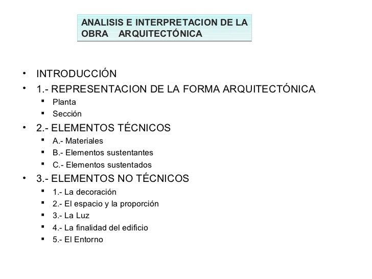 ANALISIS E INTERPRETACION DE LA                OBRA ARQUITECTÓNICA•   INTRODUCCIÓN•   1.- REPRESENTACION DE LA FORMA ARQUI...