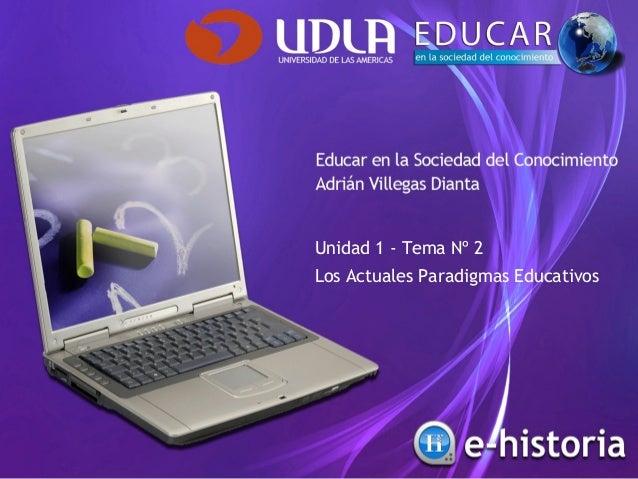 Unidad 1 - Tema Nº 2 Los Actuales Paradigmas Educativos