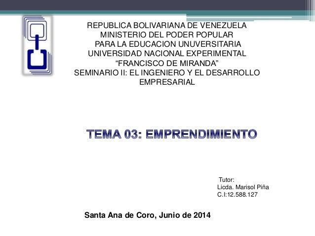 REPUBLICA BOLIVARIANA DE VENEZUELA MINISTERIO DEL PODER POPULAR PARA LA EDUCACION UNUVERSITARIA UNIVERSIDAD NACIONAL EXPER...