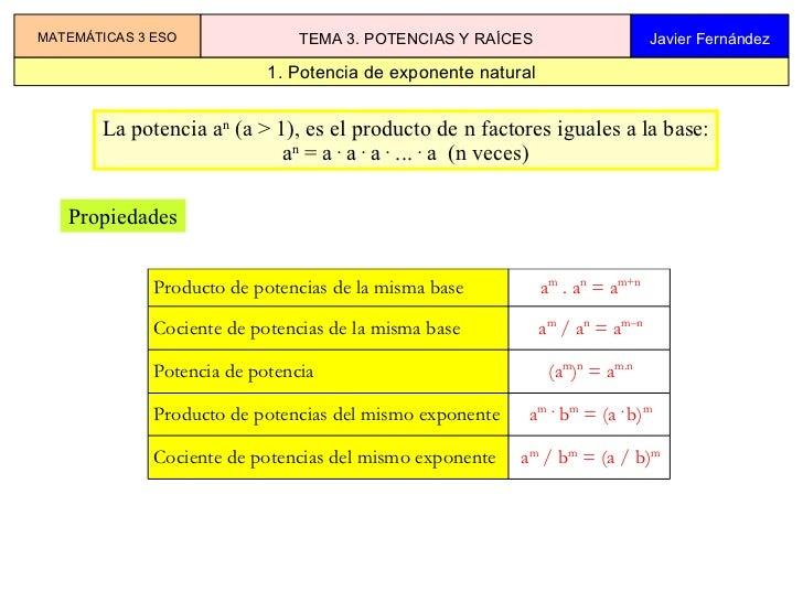 1. Potencia de exponente natural MATEMÁTICAS 3 ESO TEMA 3. POTENCIAS Y RAÍCES Javier Fernández La potencia a n  (a > 1), e...
