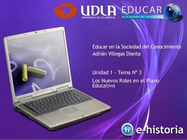 Unidad 1 - Tema Nº 3 Los Nuevos Roles en el Plano Educativo