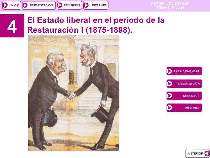 4 El Estado liberal en el periodo de la Restauración I (1875-1898).  PARA COMENZAR PRESENTACIÓN RECURSOS INTERNET