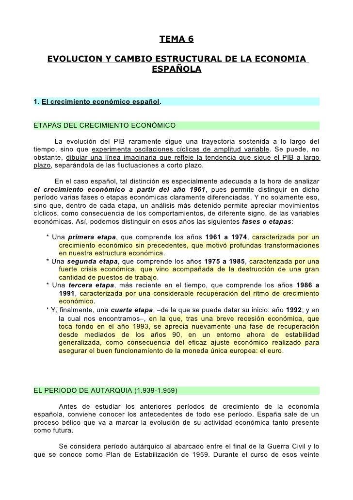TEMA 6      EVOLUCION Y CAMBIO ESTRUCTURAL DE LA ECONOMIA                       ESPAÑOLA   1. El crecimiento económico esp...
