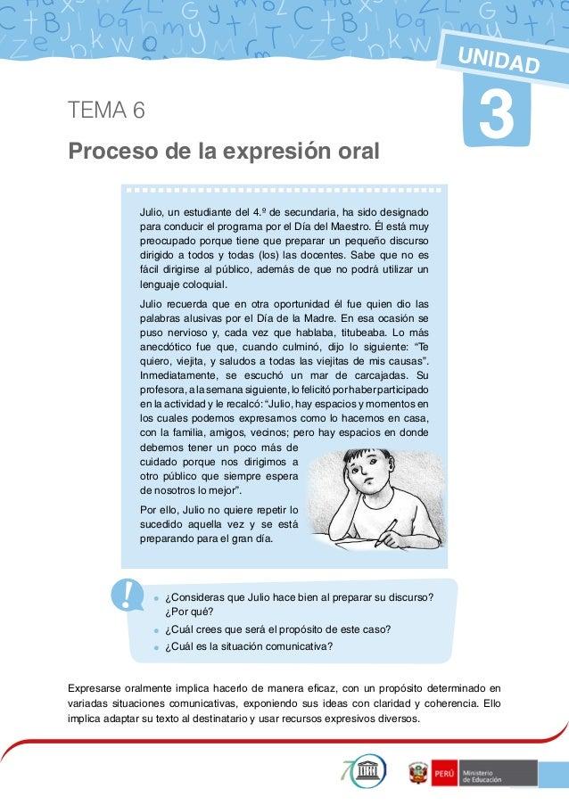 1 Proceso de la expresión oral 3 UNIDAD  ¿Consideras que Julio hace bien al preparar su discurso? ¿Por qué?  ¿Cuál crees...