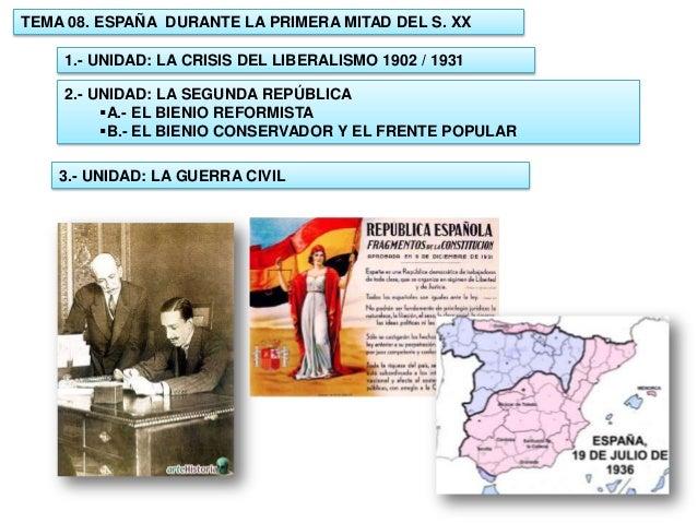 TEMA 08. ESPAÑA DURANTE LA PRIMERA MITAD DEL S. XX 1.- UNIDAD: LA CRISIS DEL LIBERALISMO 1902 / 1931 2.- UNIDAD: LA SEGUND...