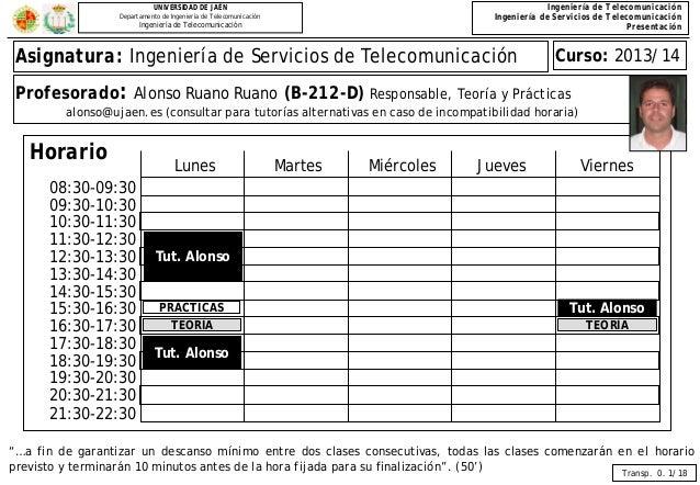 Ingeniería de Telecomunicación Ingeniería de Servicios de Telecomunicación Presentación  UNIVERSIDAD DE JAÉN Departamento ...