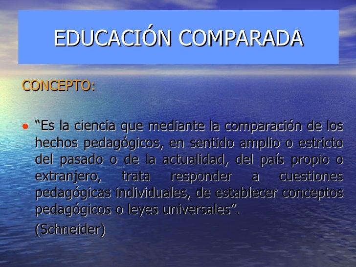"""EDUCACIÓN COMPARADA <ul><li>CONCEPTO: </li></ul><ul><li>"""" Es la ciencia que mediante la comparación de los hechos pedagógi..."""