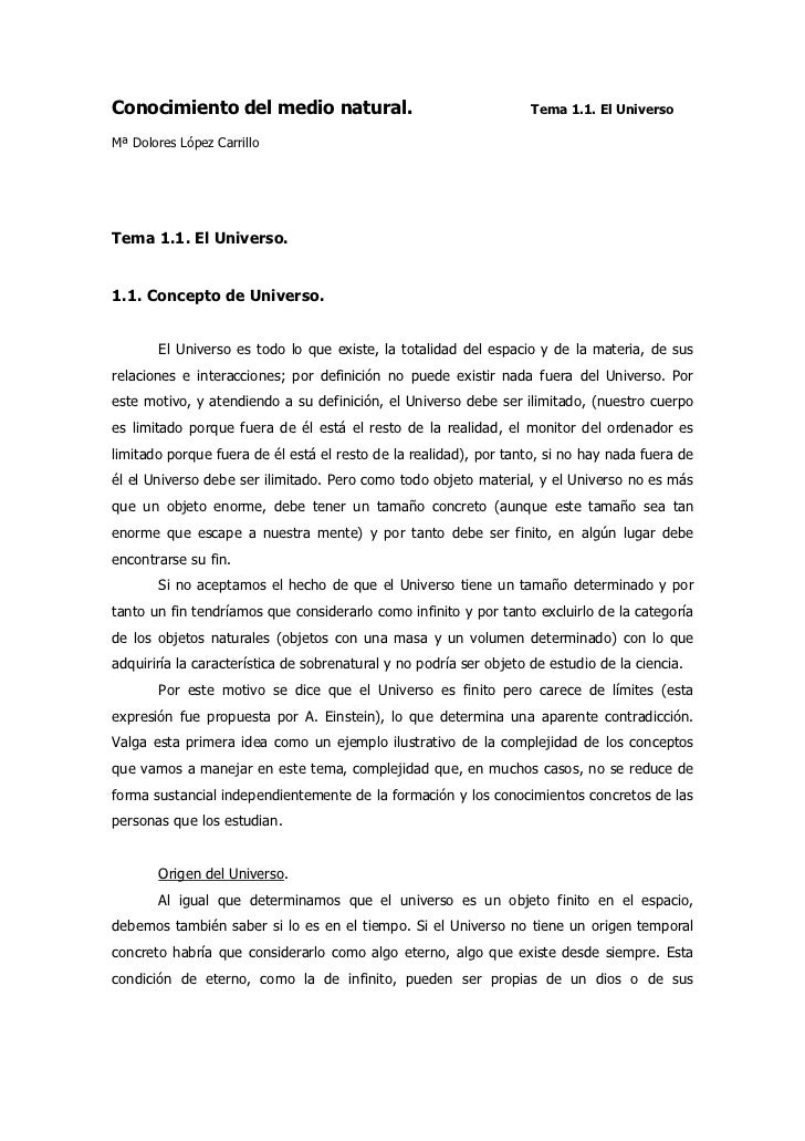 Conocimiento del medio natural.                                     Tema 1.1. El UniversoMª Dolores López CarrilloTema 1.1...