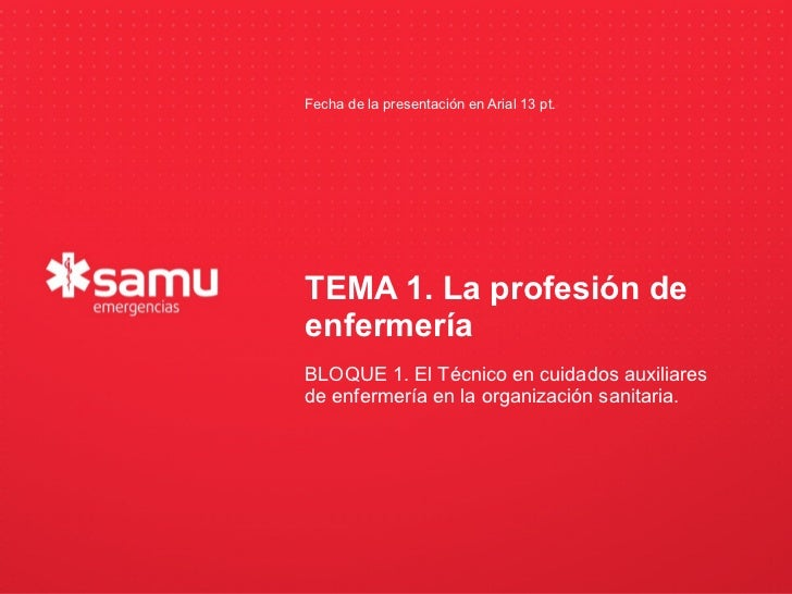 Fecha de la presentación en Arial 13 pt.                          TEMA 1. La profesión de                          enferme...