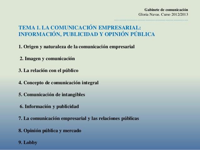 Gabinete de comunicación                                                                     Gloria Navas. Curso 2012/2013...