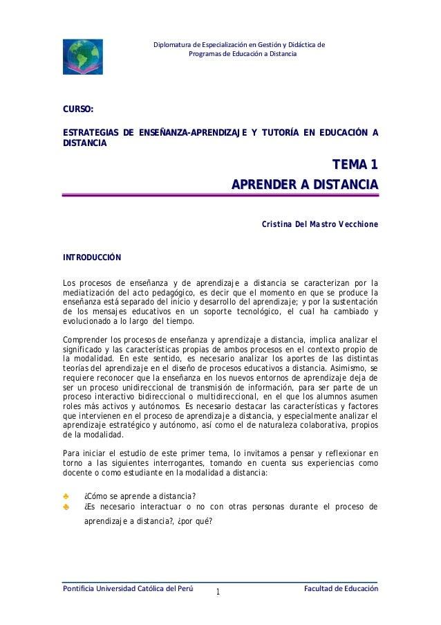 Diplomatura de Especialización en Gestión y Didáctica de Programas de Educación a Distancia  CURSO: ESTRATEGIAS DE ENSEÑAN...