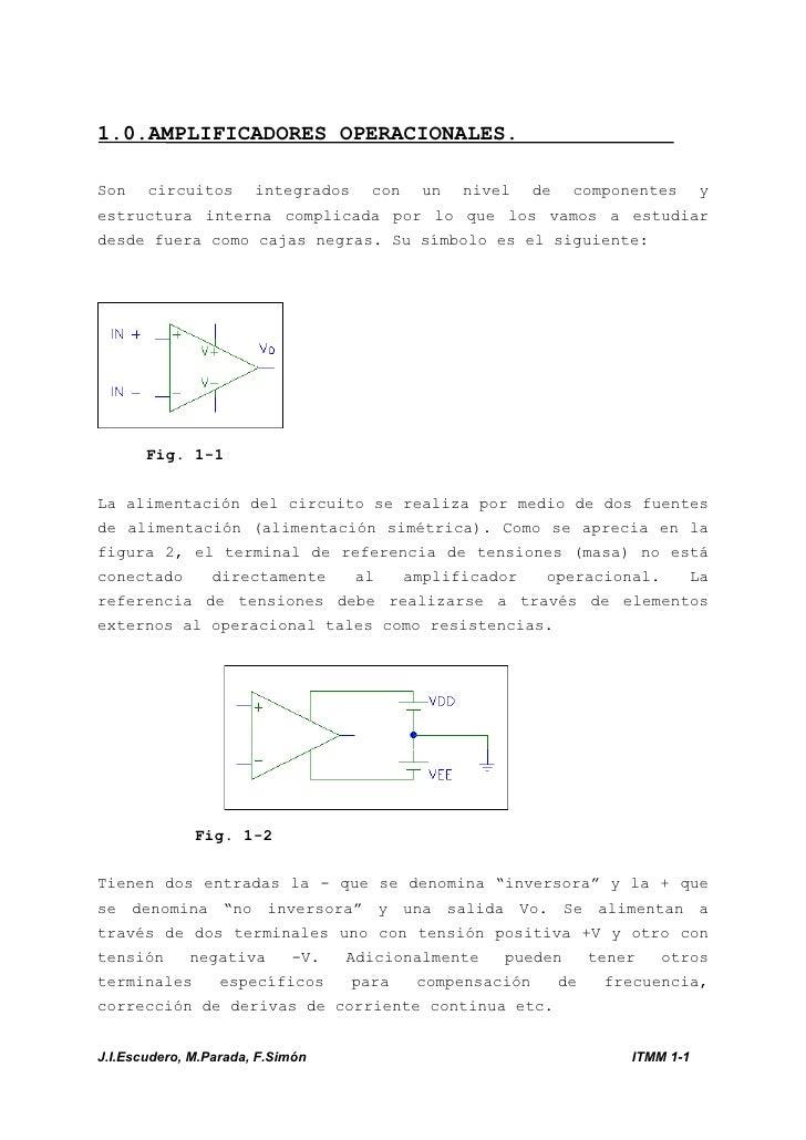 1.0.AMPLIFICADORES OPERACIONALES.Son circuitos integrados con un nivel de componentes yestructura interna complicada por l...