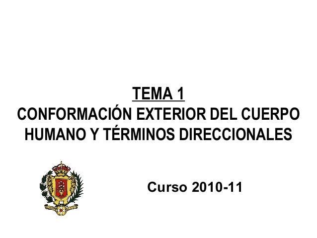 TEMA 1 CONFORMACIÓN EXTERIOR DEL CUERPO HUMANO Y TÉRMINOS DIRECCIONALES Curso 2010-11