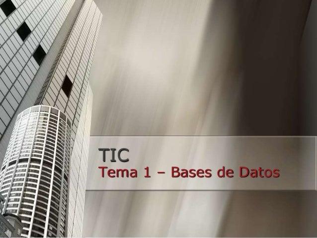TIC Tema 1 – Bases de Datos