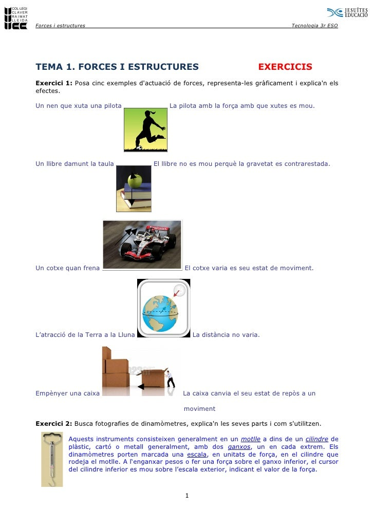 Tema 1. Forces I Estructures (Exercicis)