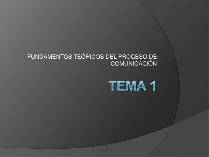 FUNDAMENTOS TEÓRICOS DEL PROCESO DE                       COMUNICACIÓN