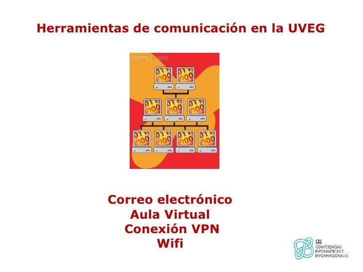 Herramientas de comunicación en la UVEG         Correo electrónico            Aula Virtual           Conexión VPN         ...