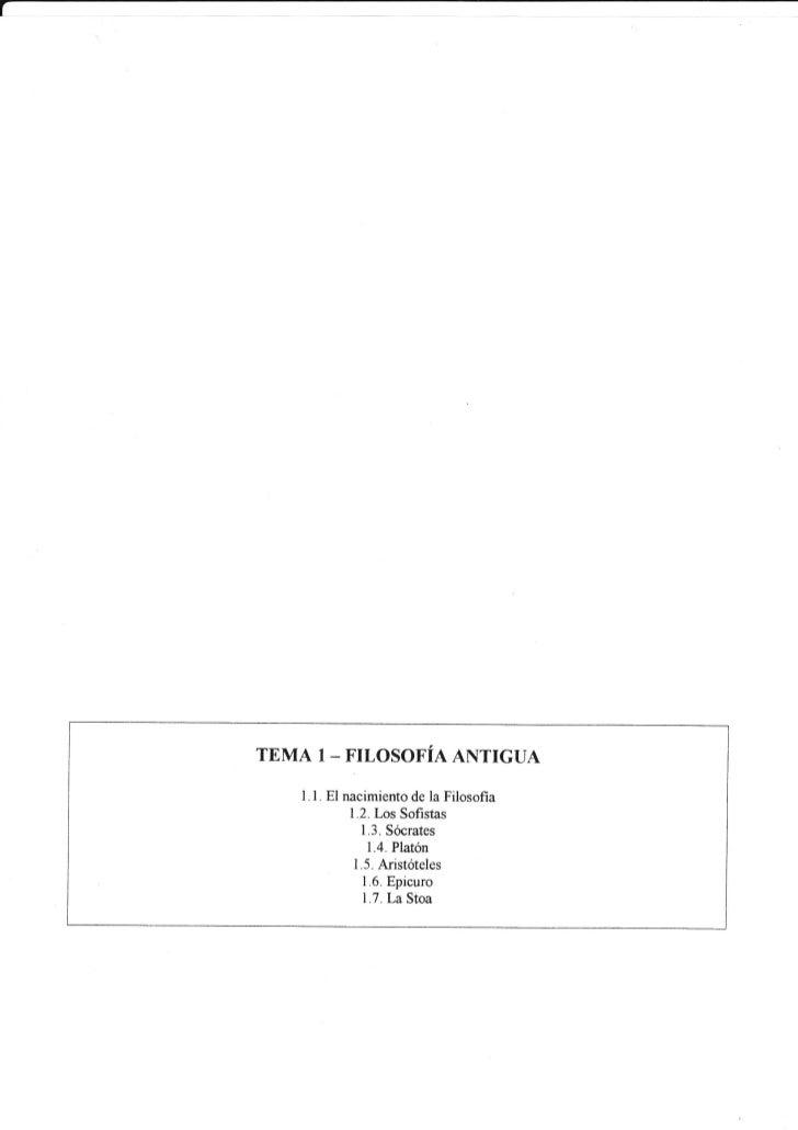 L    TEMA 1_ FILOSOFÍA ANTIGUA        l.l. El nacimiento la Filosofia                           de                 1.2.Los...